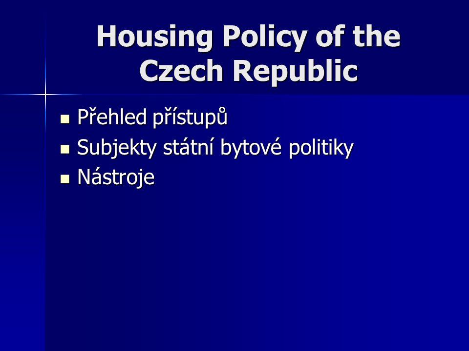 Housing Policy of the Czech Republic Přehled přístupů Přehled přístupů Subjekty státní bytové politiky Subjekty státní bytové politiky Nástroje Nástroje
