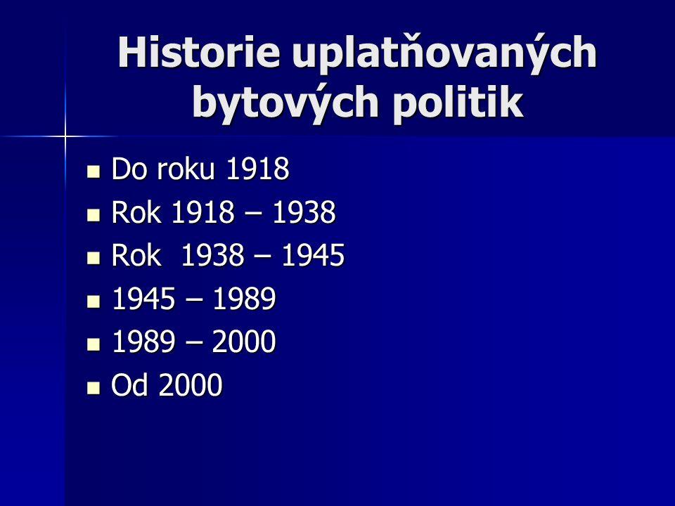 Historie uplatňovaných bytových politik Do roku 1918 Do roku 1918 Rok 1918 – 1938 Rok 1918 – 1938 Rok 1938 – 1945 Rok 1938 – 1945 1945 – 1989 1945 – 1989 1989 – 2000 1989 – 2000 Od 2000 Od 2000