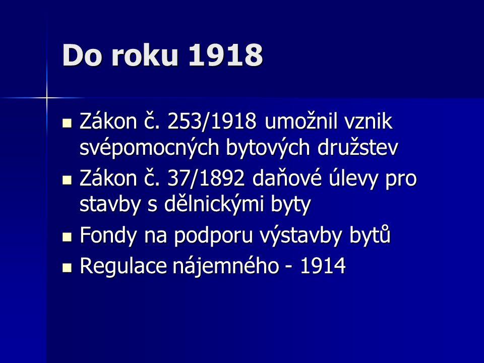 Do roku 1918 Zákon č. 253/1918 umožnil vznik svépomocných bytových družstev Zákon č.