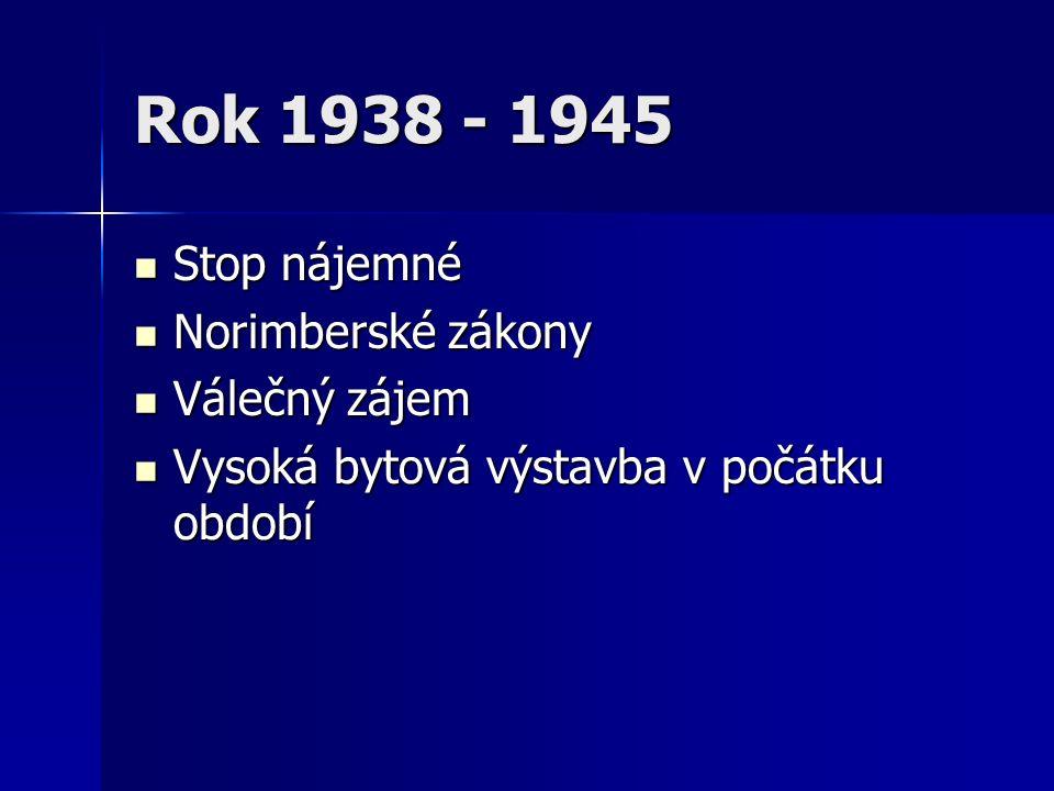 Rok 1938 - 1945 Stop nájemné Stop nájemné Norimberské zákony Norimberské zákony Válečný zájem Válečný zájem Vysoká bytová výstavba v počátku období Vysoká bytová výstavba v počátku období