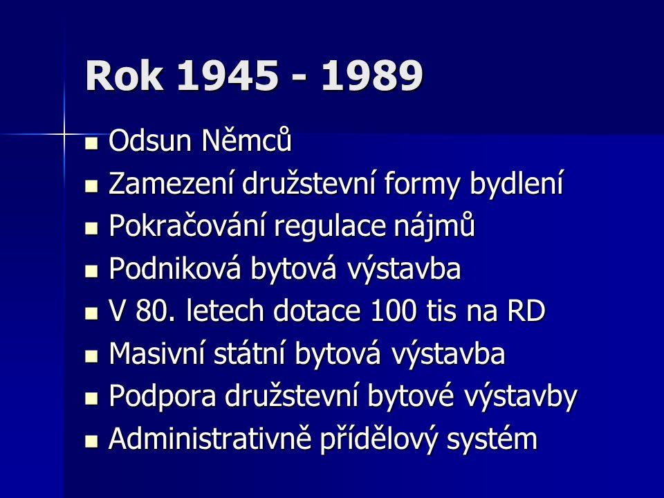Rok 1945 - 1989 Odsun Němců Odsun Němců Zamezení družstevní formy bydlení Zamezení družstevní formy bydlení Pokračování regulace nájmů Pokračování regulace nájmů Podniková bytová výstavba Podniková bytová výstavba V 80.