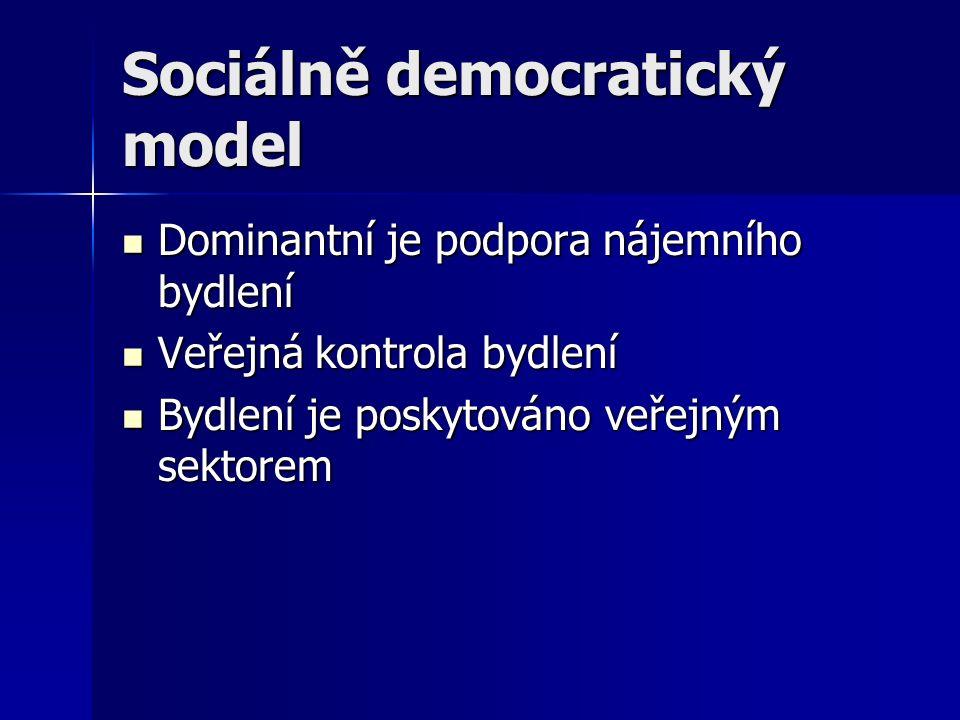 Sociálně democratický model Dominantní je podpora nájemního bydlení Dominantní je podpora nájemního bydlení Veřejná kontrola bydlení Veřejná kontrola bydlení Bydlení je poskytováno veřejným sektorem Bydlení je poskytováno veřejným sektorem