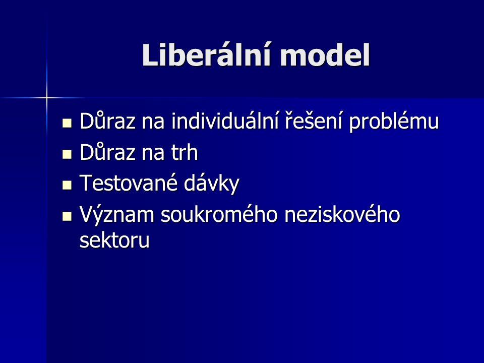 Liberální model Důraz na individuální řešení problému Důraz na individuální řešení problému Důraz na trh Důraz na trh Testované dávky Testované dávky Význam soukromého neziskového sektoru Význam soukromého neziskového sektoru