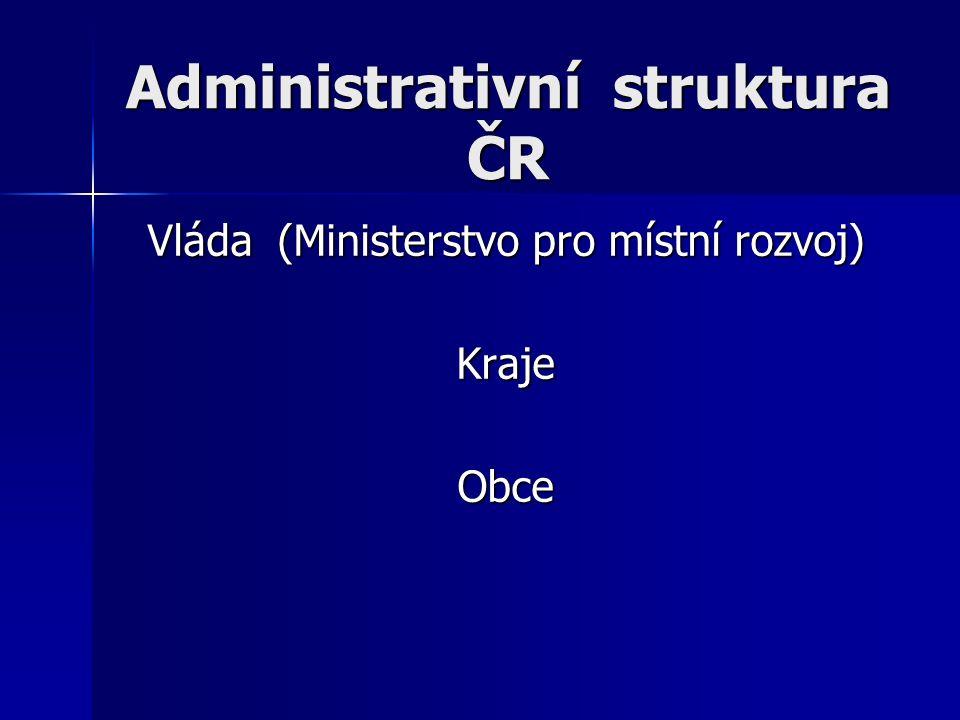 Administrativní struktura ČR Vláda (Ministerstvo pro místní rozvoj) KrajeObce