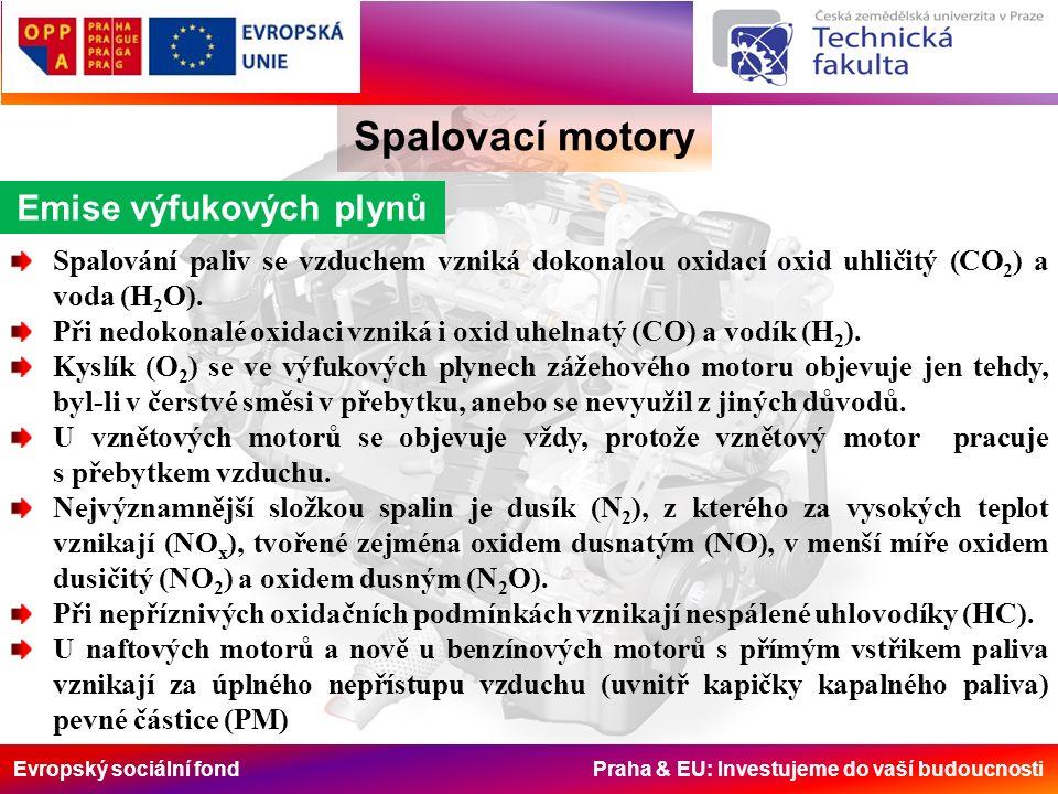 Evropský sociální fond Praha & EU: Investujeme do vaší budoucnosti Spalovací motory předpisNOxCOHCPMTest Euro 1 (1992) všechna vozidla Euro 2 (1996) 8,00 7,00 4,5 4,01,10 (THC) 0,35 0,15 ECE R49 (13 mode cycle) ECE R49 Euro 3 (2000) Conventional engines5,02,10,66 (THC)0,10ESC Euro 3 (2000.10) Advanced engines5,05,45 0,78 (NMHC) 1,6 (CH 4 ) 0,16ETC Euro 4 (2005.10)3,5 1,5 4,0 0,46 (THC) 0,55 (NMHC) 1,1 (CH 4 ) 0,02 0,03 ESC ETC Euro 5 (2008.10)2,0 1,5 4,0 0,46 (THC) 0,55 (NMHC) 1,1 (CH 4 ) 0,02 0,03 ESC ETC Euro 6 (2013.01)0,4 1,5 4,0 0,13 (THC) 0,16 (NMHC) 0,5 (CH 4 )0,01 ESC ETC EU standardní limity emisí (gkWh-1) pro vozidla nad 3,5 t