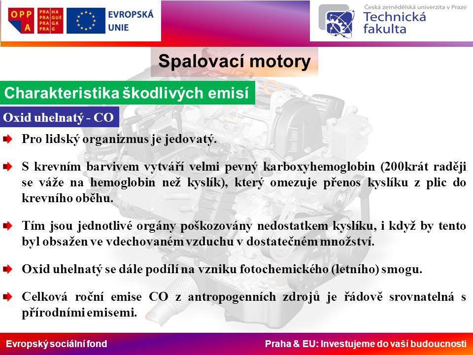 Evropský sociální fond Praha & EU: Investujeme do vaší budoucnosti Homologace vozidel do 3,5 t, ČR a EU Spalovací motory Standardní limity emisí (g/km) osobní vozidla do 3,5t, vznětové motory předpisplatnostCOHCHC+NOxNOxPM Dieselg·km -1 Euro 119922,72-0,97-0,14 Euro 2 - IDI19961-0,7-0,08 Euro 2 - DI19991-0,9-0,1 Euro 32000.010,64-0,560,50,05 Euro 42005.010,5-0,30,250,025 Euro 52009.090,5-0,230,180,005 Euro 62014.090,5-0,170,080,005