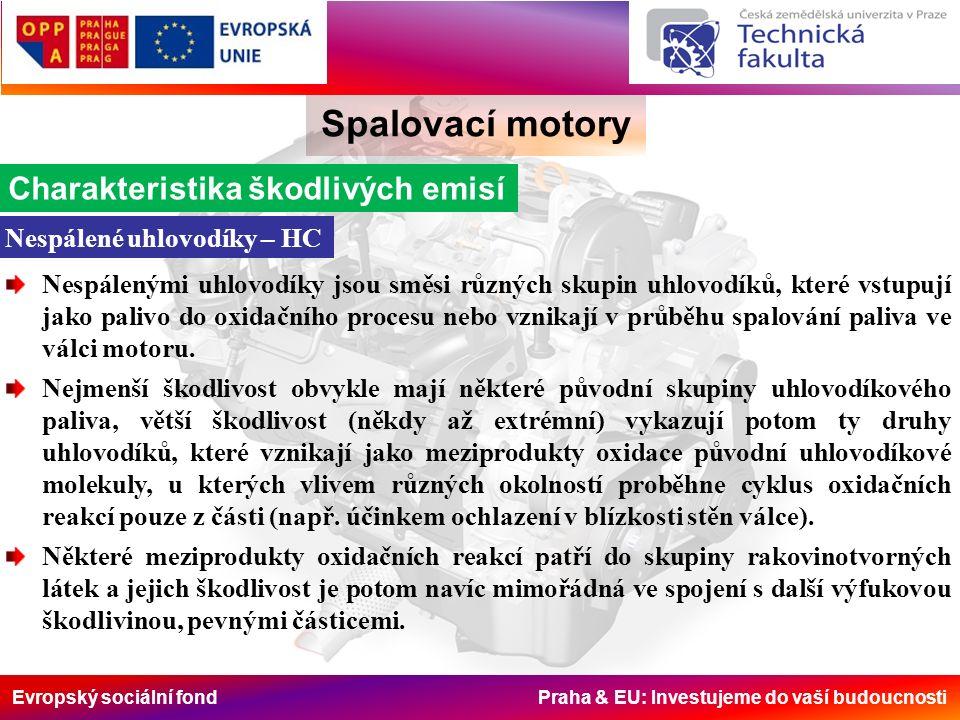 Evropský sociální fond Praha & EU: Investujeme do vaší budoucnosti Spalovací motory Opatření u motorem Závislost m pe, HC, NO x na podílu recirkulace Schéma vnější recirkulace, chladič spalin bývá použit později, většinou u vznětových motorů