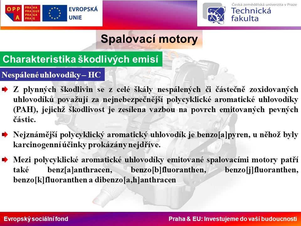 Evropský sociální fond Praha & EU: Investujeme do vaší budoucnosti Spalovací motory ETC (European transient cycle) Byl zaveden v EU spolu s ESC testem.