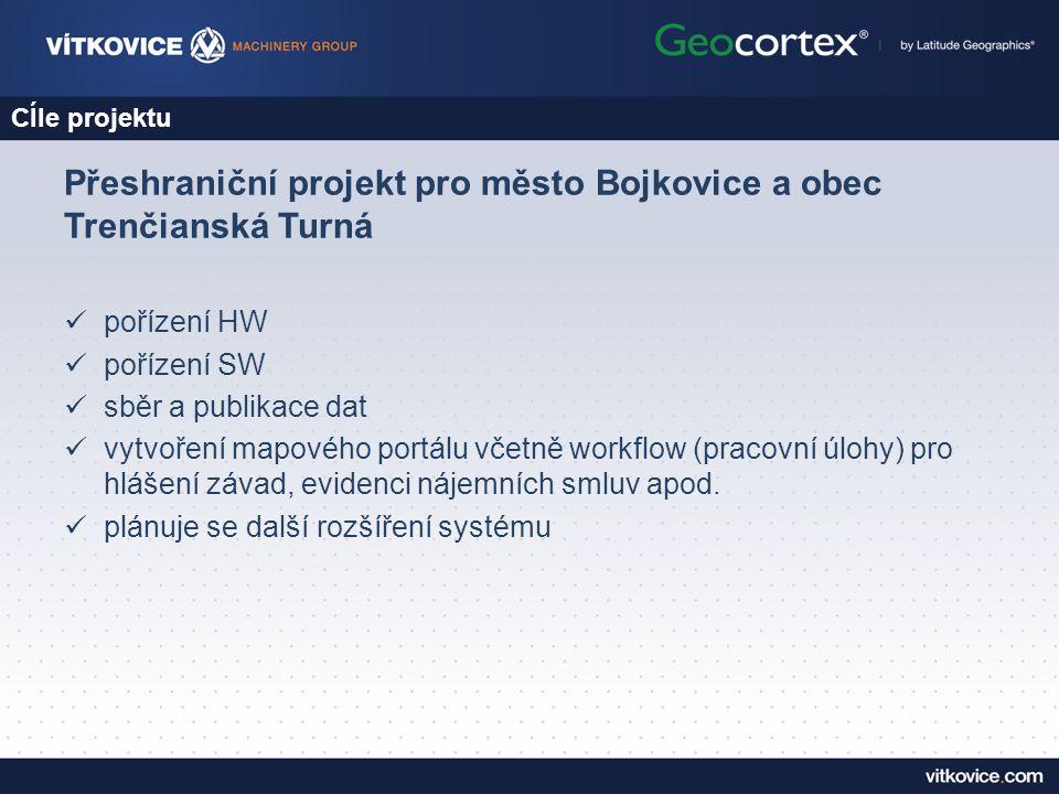 CÍle projektu Přeshraniční projekt pro město Bojkovice a obec Trenčianská Turná pořízení HW pořízení SW sběr a publikace dat vytvoření mapového portálu včetně workflow (pracovní úlohy) pro hlášení závad, evidenci nájemních smluv apod.