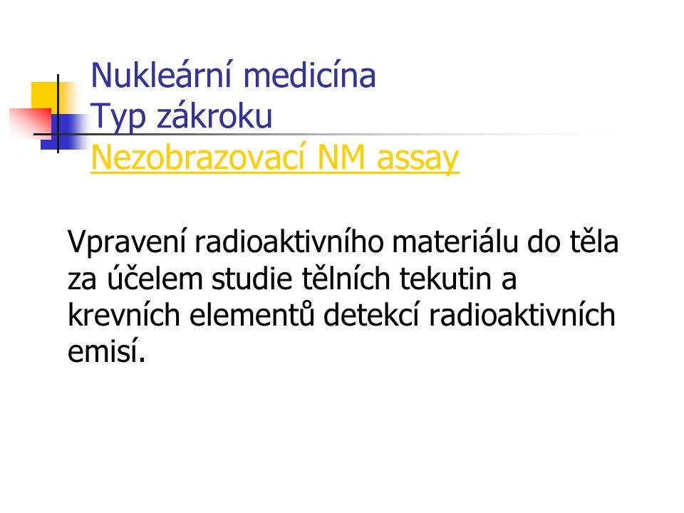 Nukleární medicína Typ zákroku Nezobrazovací NM assay Vpravení radioaktivního materiálu do těla za účelem studie tělních tekutin a krevních elementů detekcí radioaktivních emisí.