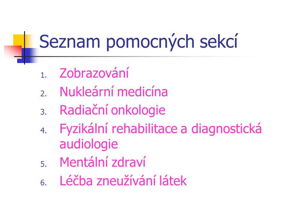 Seznam pomocných sekcí 1.Zobrazování 2. Nukleární medicína 3.
