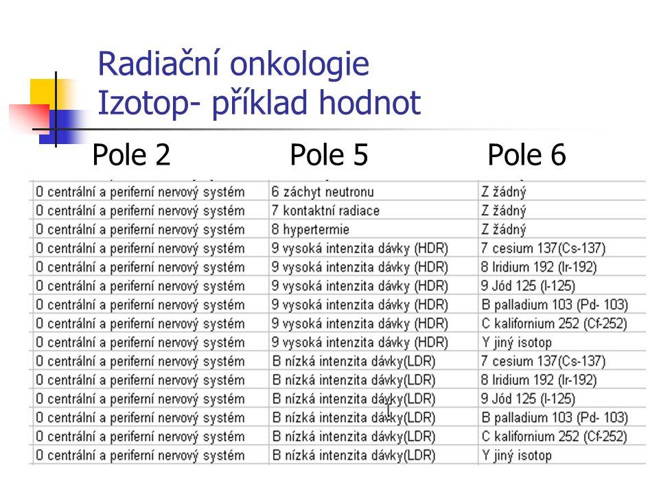 Radiační onkologie Izotop- příklad hodnot Pole 2Pole 5 Pole 6