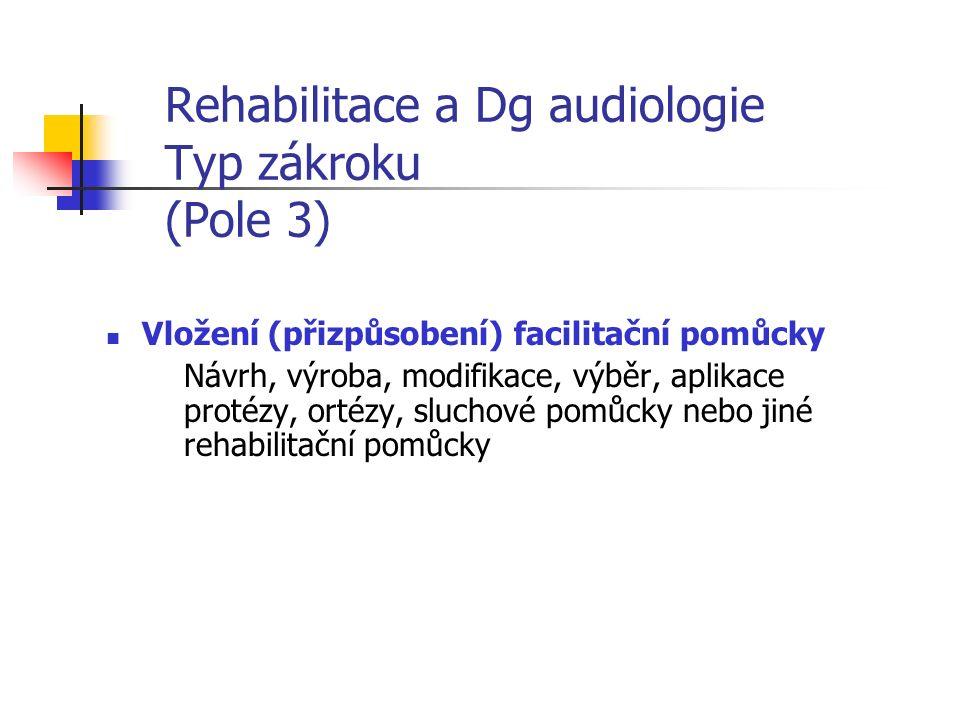 Rehabilitace a Dg audiologie Typ zákroku (Pole 3) Vložení (přizpůsobení) facilitační pomůcky Návrh, výroba, modifikace, výběr, aplikace protézy, ortézy, sluchové pomůcky nebo jiné rehabilitační pomůcky