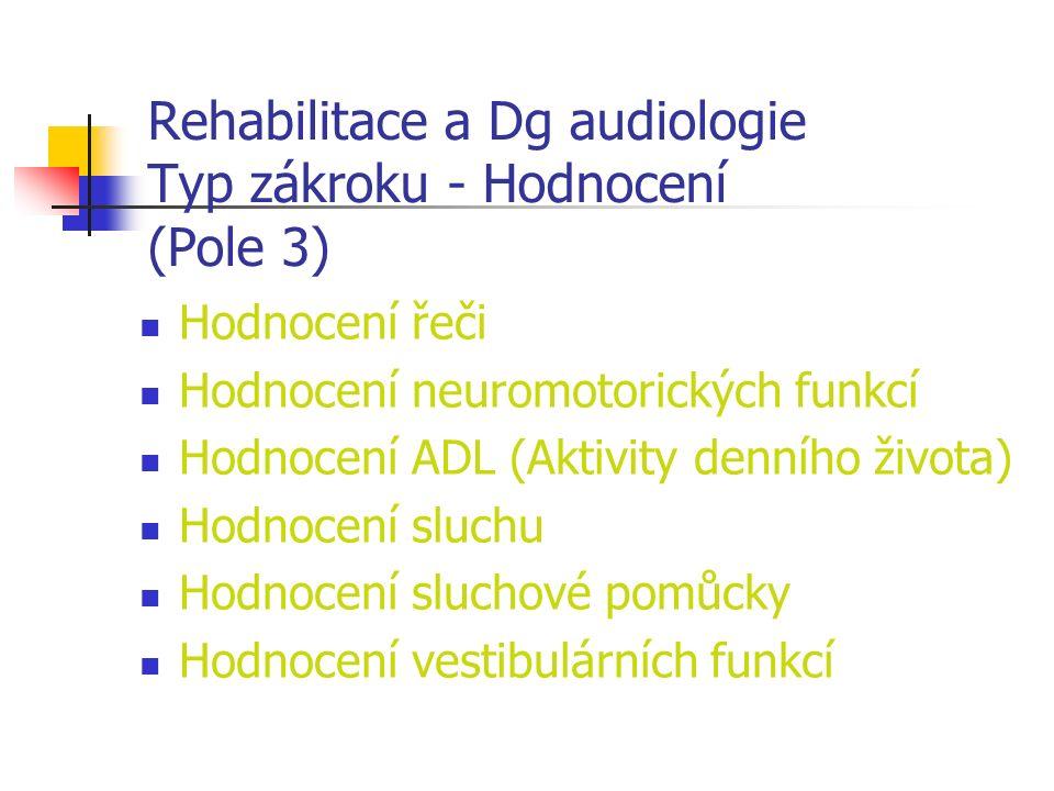 Rehabilitace a Dg audiologie Typ zákroku - Hodnocení (Pole 3) Hodnocení řeči Hodnocení neuromotorických funkcí Hodnocení ADL (Aktivity denního života) Hodnocení sluchu Hodnocení sluchové pomůcky Hodnocení vestibulárních funkcí