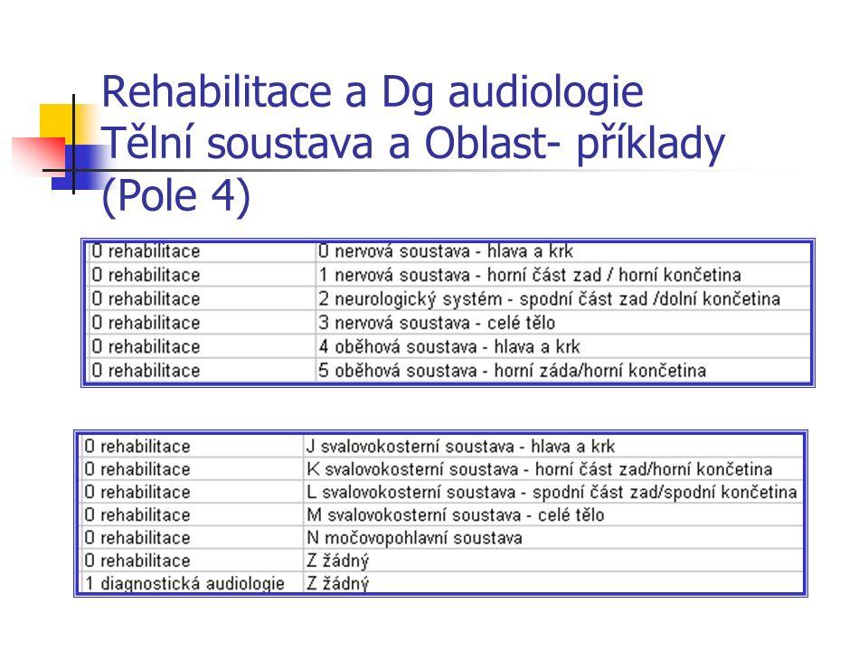 Rehabilitace a Dg audiologie Tělní soustava a Oblast- příklady (Pole 4)