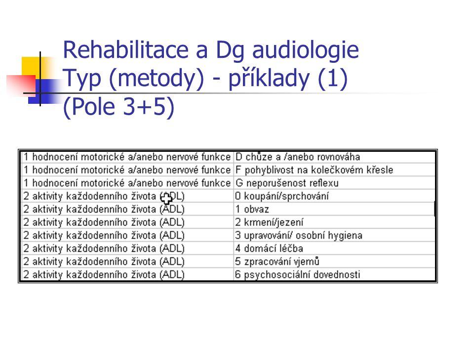 Rehabilitace a Dg audiologie Typ (metody) - příklady (1) (Pole 3+5)