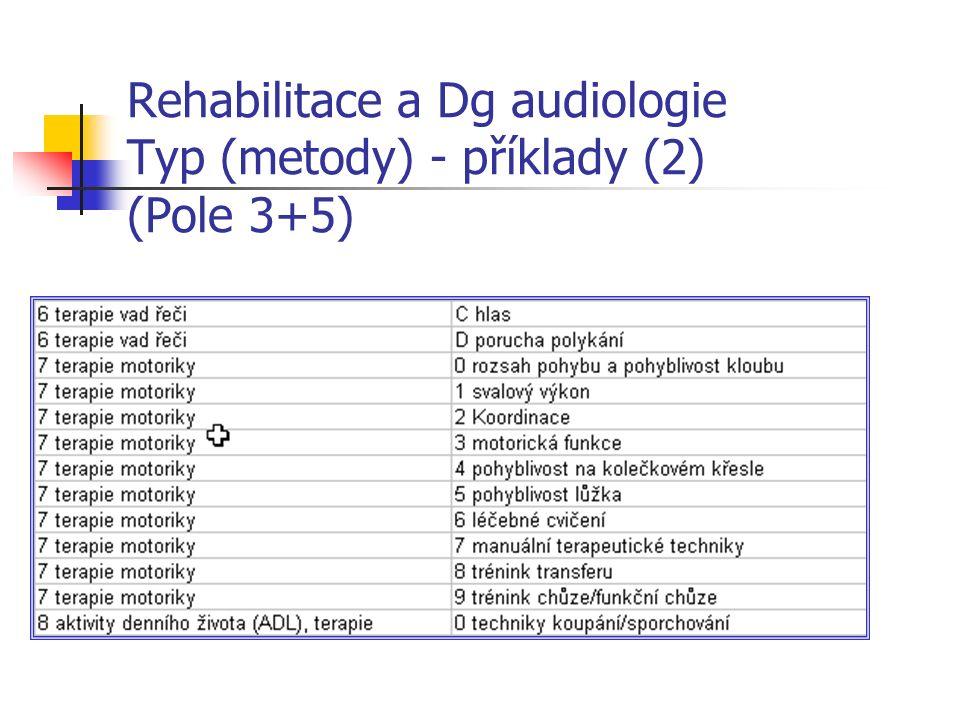 Rehabilitace a Dg audiologie Typ (metody) - příklady (2) (Pole 3+5)