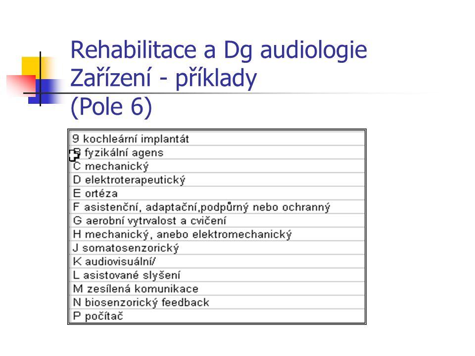 Rehabilitace a Dg audiologie Zařízení - příklady (Pole 6)