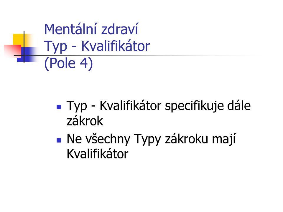 Mentální zdraví Typ - Kvalifikátor (Pole 4) Typ - Kvalifikátor specifikuje dále zákrok Ne všechny Typy zákroku mají Kvalifikátor