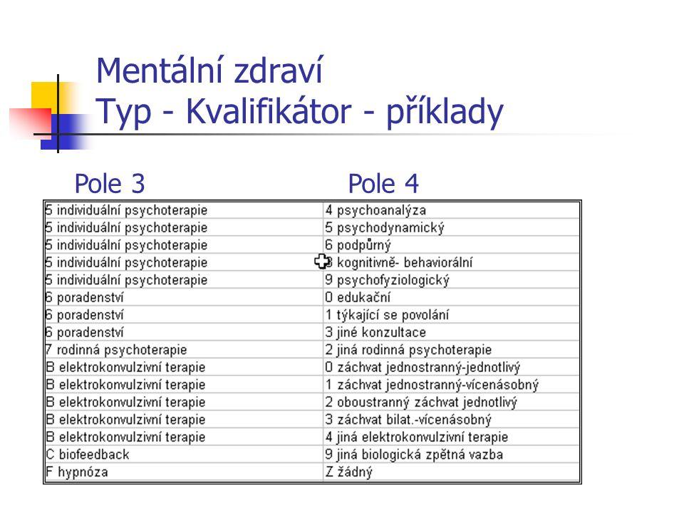 Mentální zdraví Typ - Kvalifikátor - příklady Pole 3Pole 4