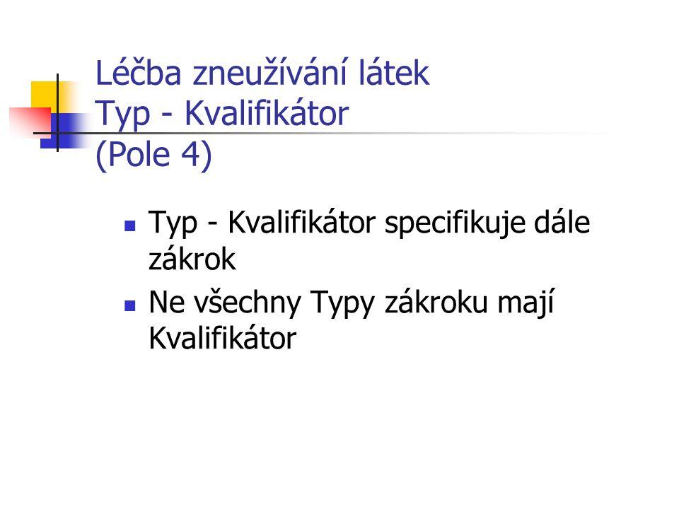 Léčba zneužívání látek Typ - Kvalifikátor (Pole 4) Typ - Kvalifikátor specifikuje dále zákrok Ne všechny Typy zákroku mají Kvalifikátor