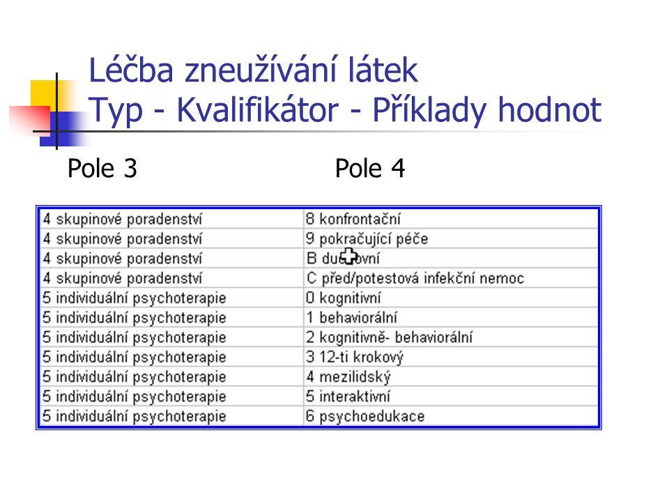 Léčba zneužívání látek Typ - Kvalifikátor - Příklady hodnot Pole 3Pole 4