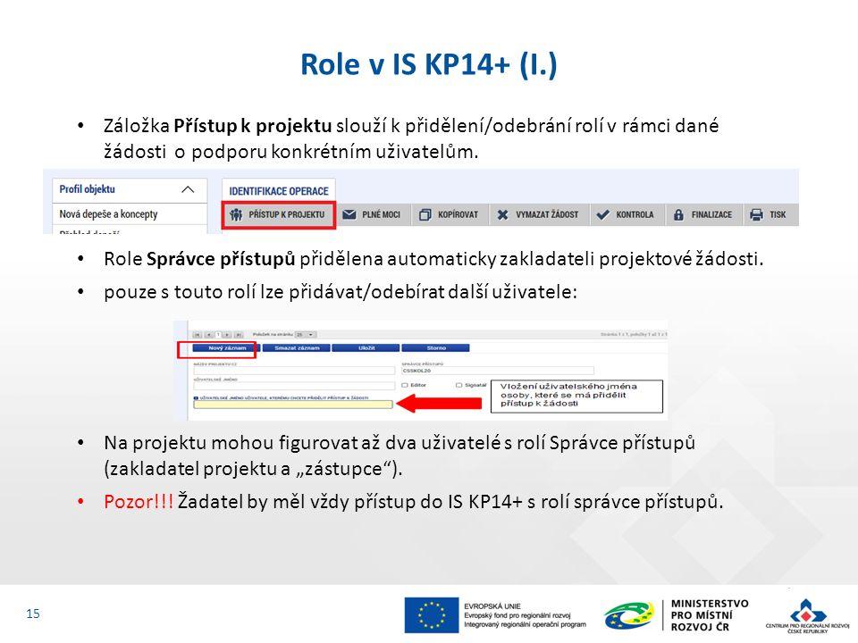 Záložka Přístup k projektu slouží k přidělení/odebrání rolí v rámci dané žádosti o podporu konkrétním uživatelům.
