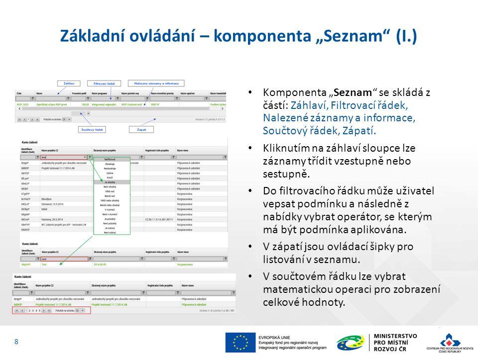 """Základní ovládání – komponenta """"Seznam (I.) Komponenta """"Seznam se skládá z částí: Záhlaví, Filtrovací řádek, Nalezené záznamy a informace, Součtový řádek, Zápatí."""