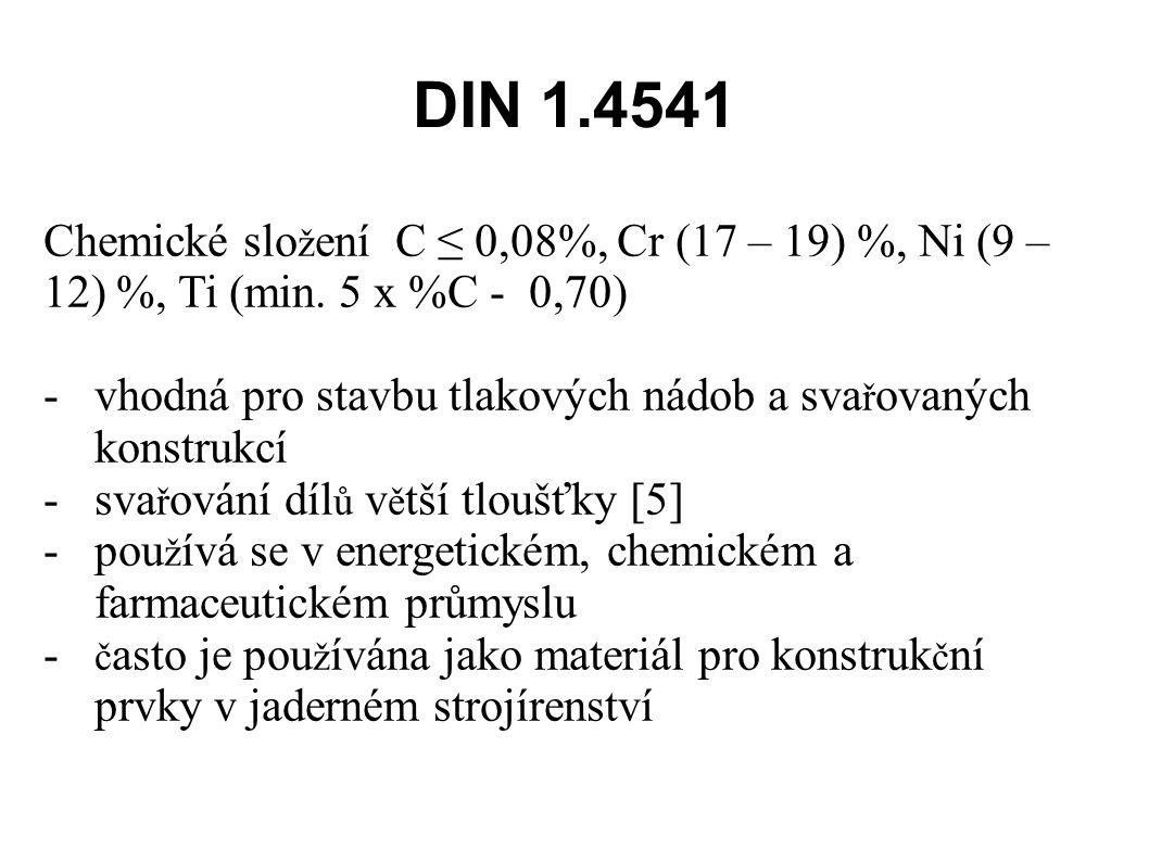 DIN 1.4541 Chemické slo ž ení C ≤ 0,08%, Cr (17 – 19) %, Ni (9 – 12) %, Ti (min.