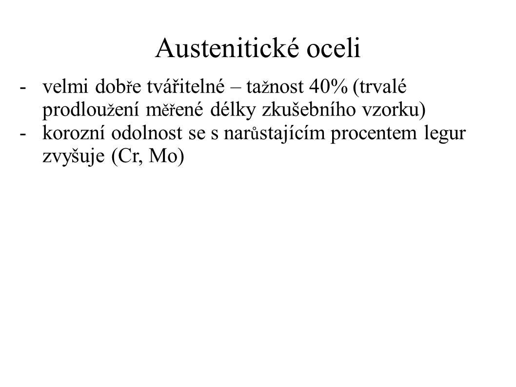 Austenitické oceli -velmi dob ř e tvářitelné – ta ž nost 40% (trvalé prodlou ž ení m ěř ené délky zkušebního vzorku) -korozní odolnost se s nar ů stajícím procentem legur zvyšuje (Cr, Mo)