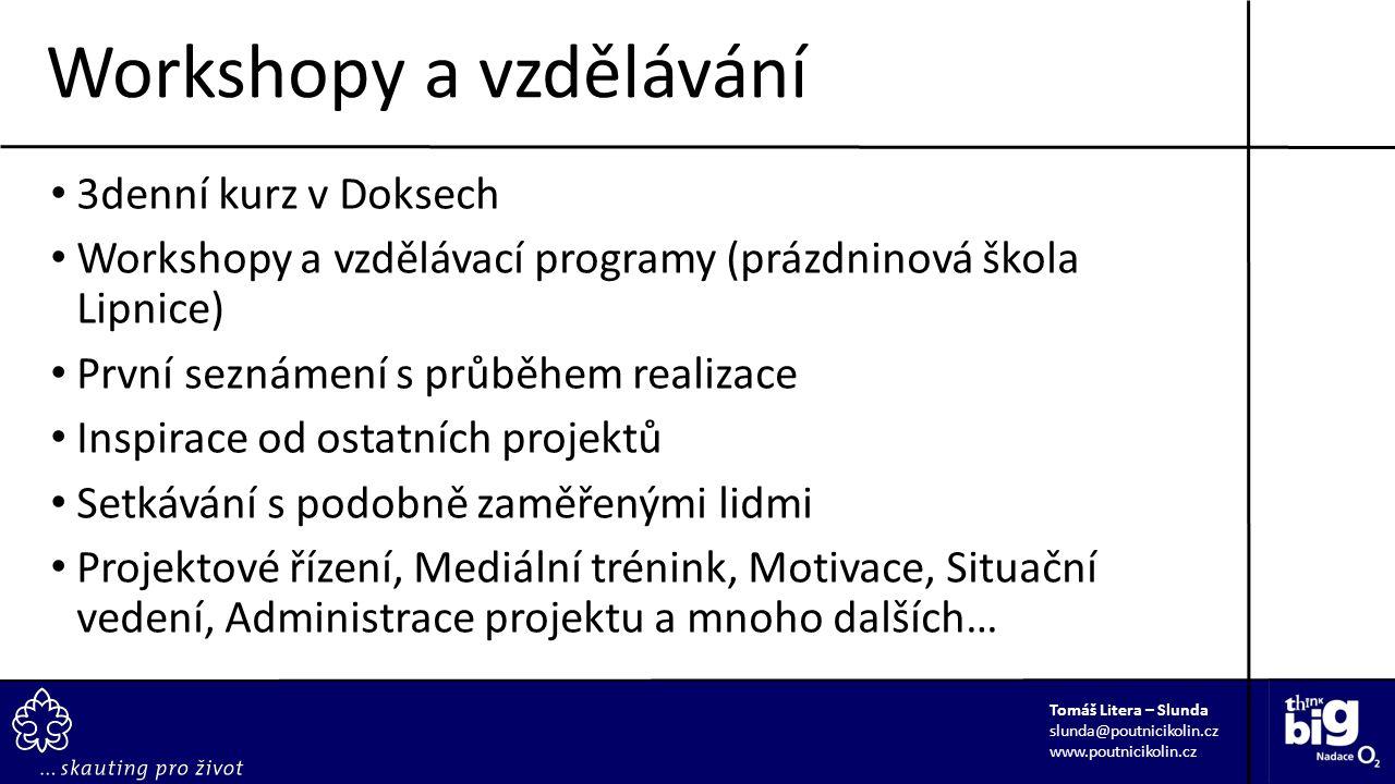 3denní kurz v Doksech Workshopy a vzdělávací programy (prázdninová škola Lipnice) První seznámení s průběhem realizace Inspirace od ostatních projektů