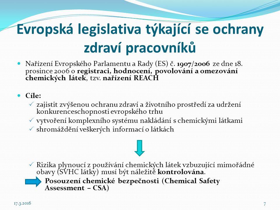 Evropská legislativa týkající se ochrany zdraví pracovníků Nařízení Evropského Parlamentu a Rady (ES) č.
