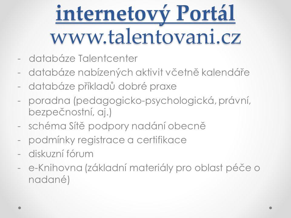 internetový Portál www.talentovani.cz - databáze Talentcenter -databáze nabízených aktivit včetně kalendáře -databáze příkladů dobré praxe -poradna (p