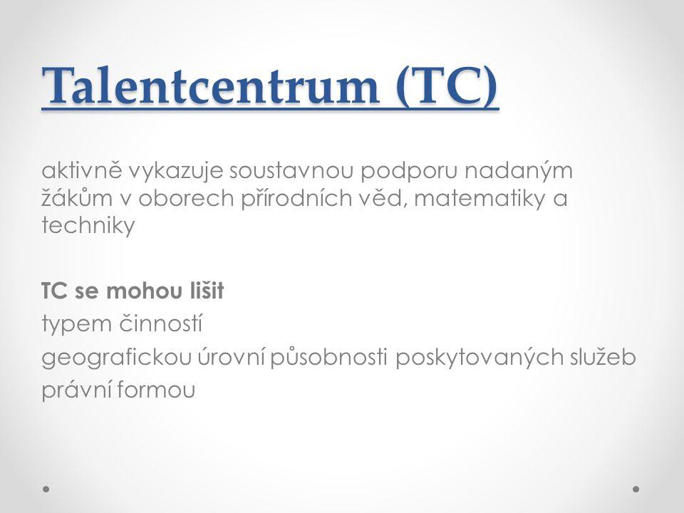 Talentcentrum (TC) aktivně vykazuje soustavnou podporu nadaným žákům v oborech přírodních věd, matematiky a techniky TC se mohou lišit typem činností