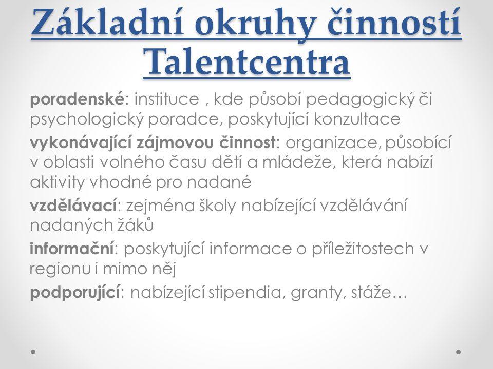 Základní okruhy činností Talentcentra poradenské : instituce, kde působí pedagogický či psychologický poradce, poskytující konzultace vykonávající záj