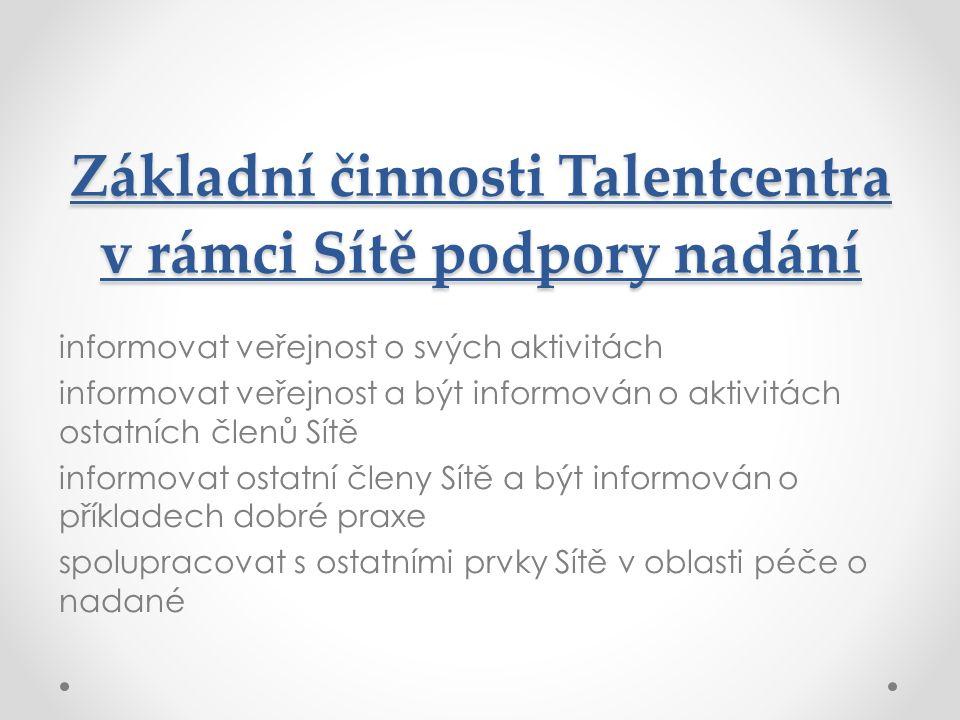 Základní činnosti Talentcentra v rámci Sítě podpory nadání informovat veřejnost o svých aktivitách informovat veřejnost a být informován o aktivitách