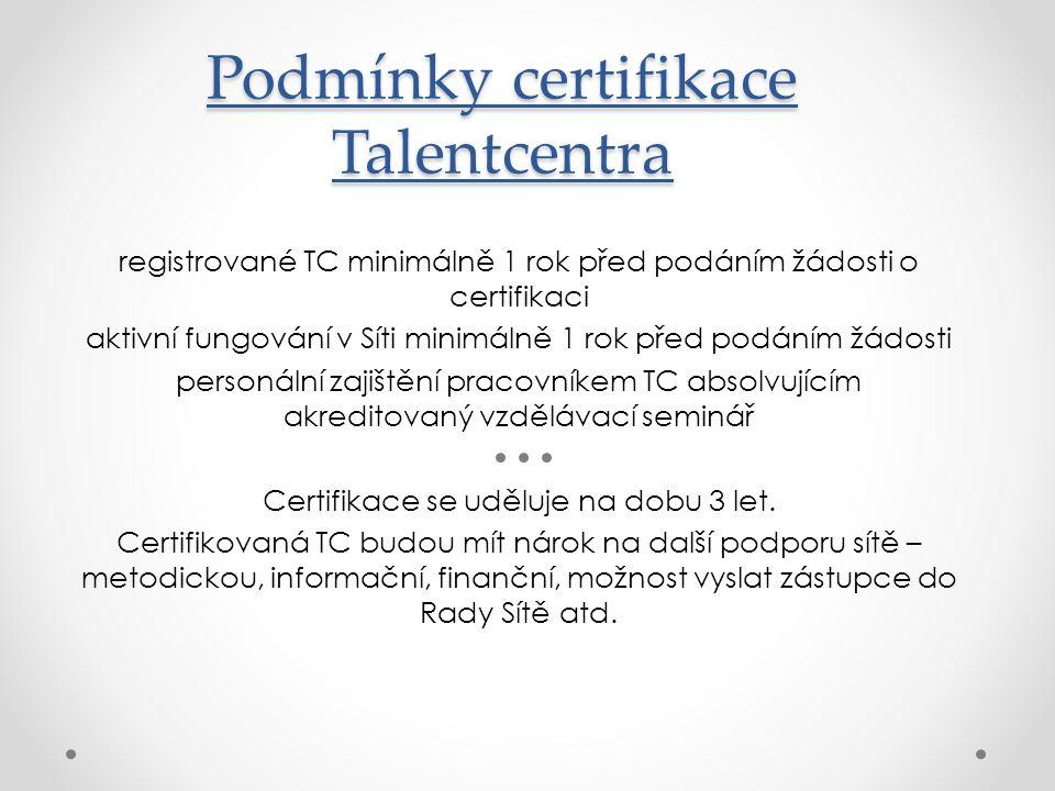 internetový Portál www.talentovani.cz - databáze Talentcenter -databáze nabízených aktivit včetně kalendáře -databáze příkladů dobré praxe -poradna (pedagogicko-psychologická, právní, bezpečnostní, aj.) -schéma Sítě podpory nadání obecně -podmínky registrace a certifikace -diskuzní fórum -e-Knihovna (základní materiály pro oblast péče o nadané)
