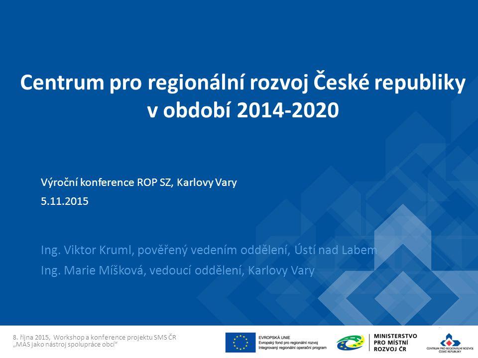 Centrum pro regionální rozvoj České republiky v období 2014-2020 Ing.
