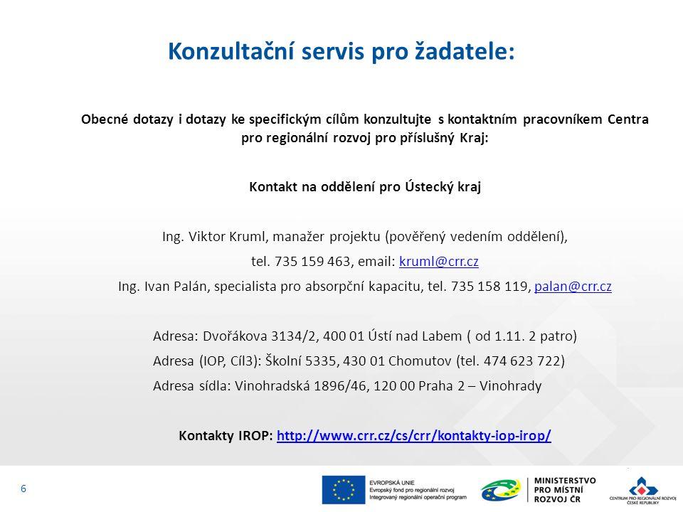 Obecné dotazy i dotazy ke specifickým cílům konzultujte s kontaktním pracovníkem Centra pro regionální rozvoj pro příslušný Kraj: Kontakt na oddělení pro Ústecký kraj Ing.