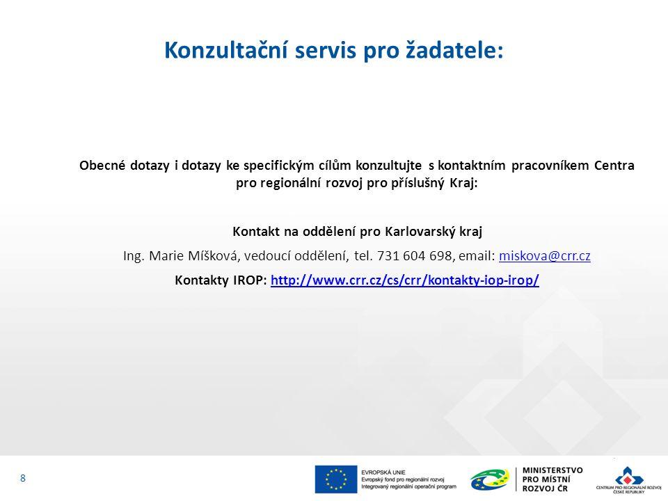 Obecné dotazy i dotazy ke specifickým cílům konzultujte s kontaktním pracovníkem Centra pro regionální rozvoj pro příslušný Kraj: Kontakt na oddělení pro Karlovarský kraj Ing.