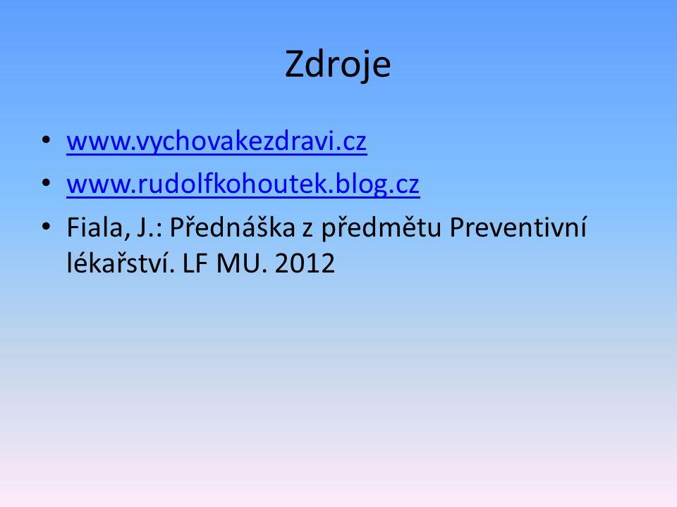 Zdroje www.vychovakezdravi.cz www.rudolfkohoutek.blog.cz Fiala, J.: Přednáška z předmětu Preventivní lékařství. LF MU. 2012