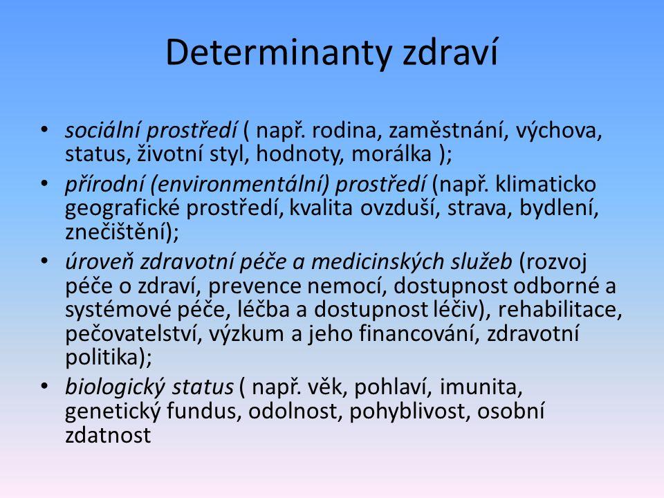 Determinanty zdraví sociální prostředí ( např. rodina, zaměstnání, výchova, status, životní styl, hodnoty, morálka ); přírodní (environmentální) prost