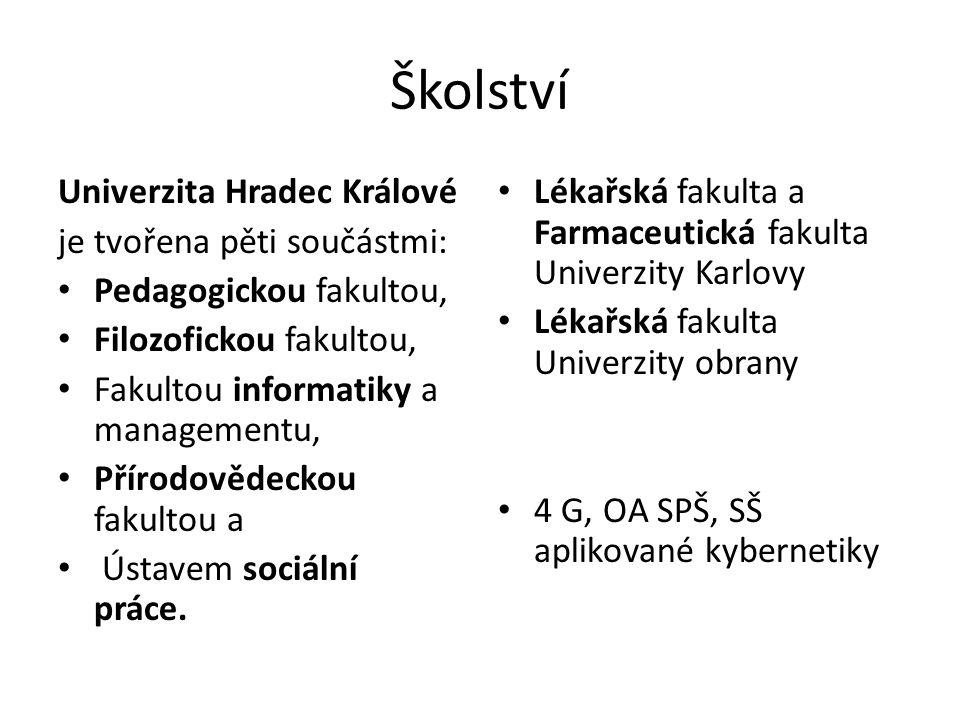 Školství Univerzita Hradec Králové je tvořena pěti součástmi: Pedagogickou fakultou, Filozofickou fakultou, Fakultou informatiky a managementu, Přírodovědeckou fakultou a Ústavem sociální práce.