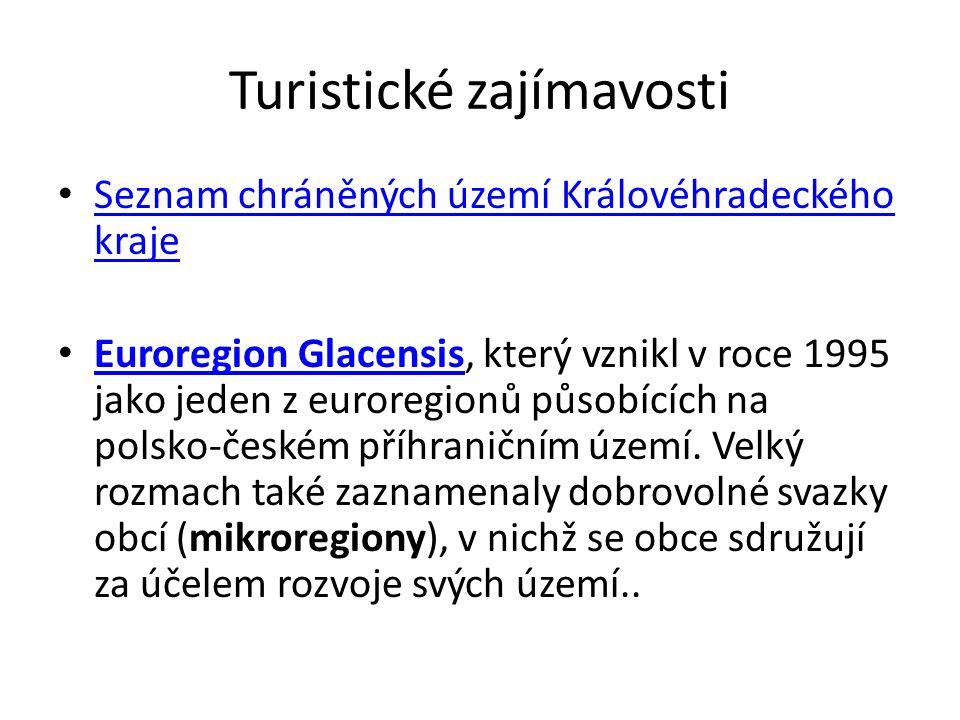 Turistické zajímavosti Seznam chráněných území Královéhradeckého kraje Seznam chráněných území Královéhradeckého kraje Euroregion Glacensis, který vzn