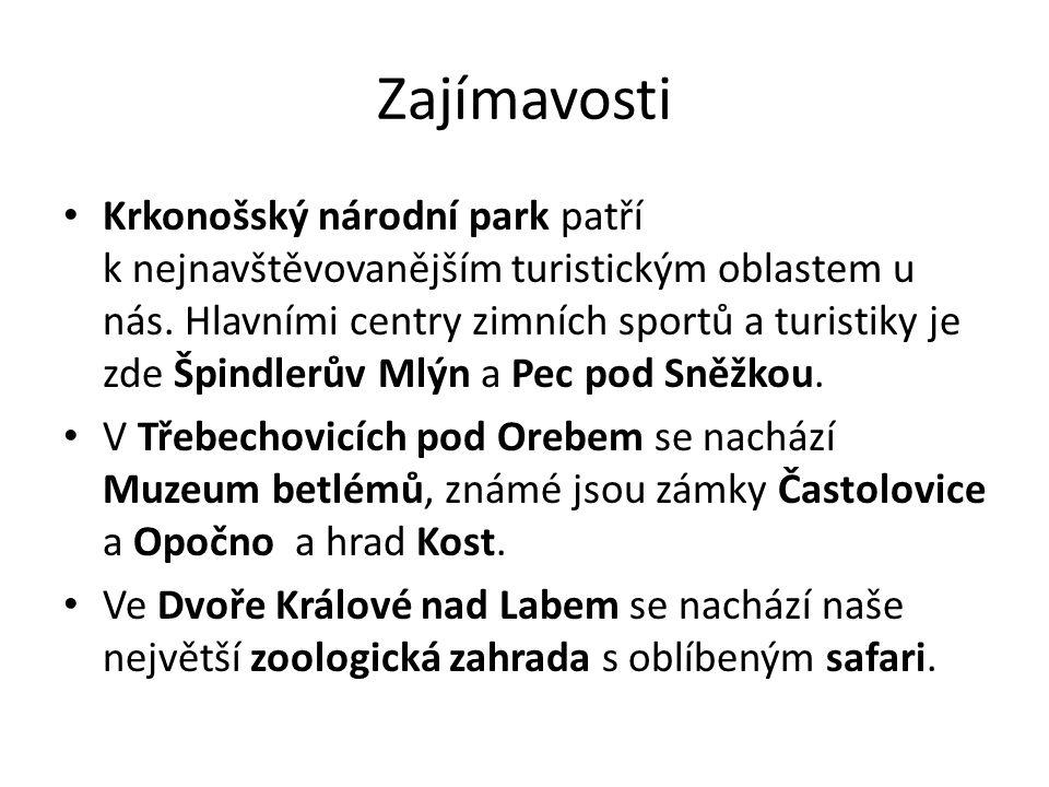 Zajímavosti Krkonošský národní park patří k nejnavštěvovanějším turistickým oblastem u nás. Hlavními centry zimních sportů a turistiky je zde Špindler
