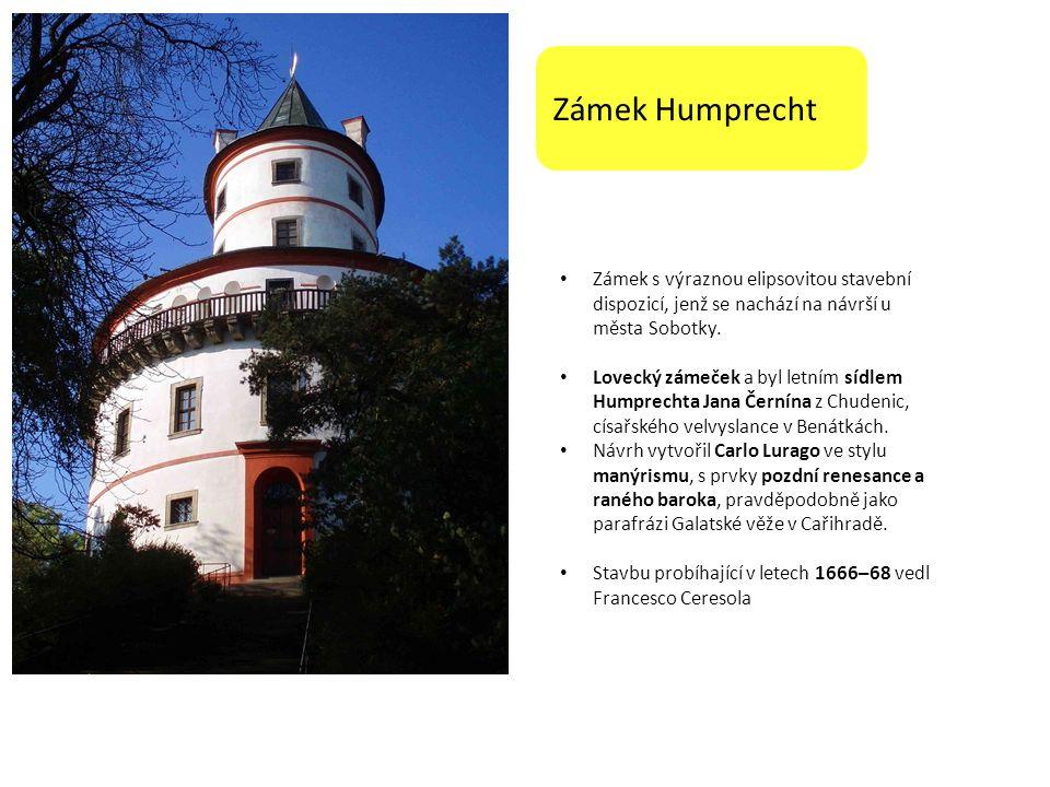 Zámek Humprecht Zámek s výraznou elipsovitou stavební dispozicí, jenž se nachází na návrší u města Sobotky. Lovecký zámeček a byl letním sídlem Humpre