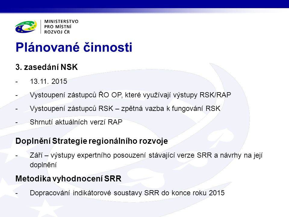 -V současné době je vyhlášeno celkem 87 výzev -OP Zaměstnanost: 32 výzev -OP Podnikání a inovace pro konkurenceschopnost: 20 výzev -OP Životní prostředí: 16 výzev -PS Česko-Polsko: 6 výzev -IROP: 5 výzev -OP Výzkum, vývoj a vzdělávání: 5 výzev -OP Technická pomoc: 2 výzvy Výzvy