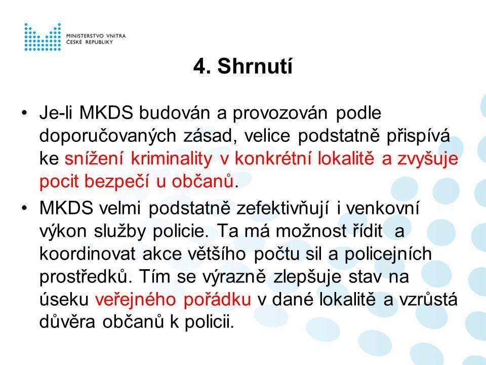 4. Shrnutí Je-li MKDS budován a provozován podle doporučovaných zásad, velice podstatně přispívá ke snížení kriminality v konkrétní lokalitě a zvyšuje