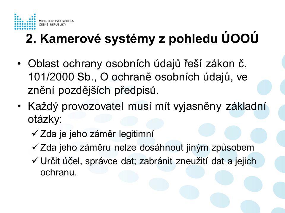 2. Kamerové systémy z pohledu ÚOOÚ Oblast ochrany osobních údajů řeší zákon č.