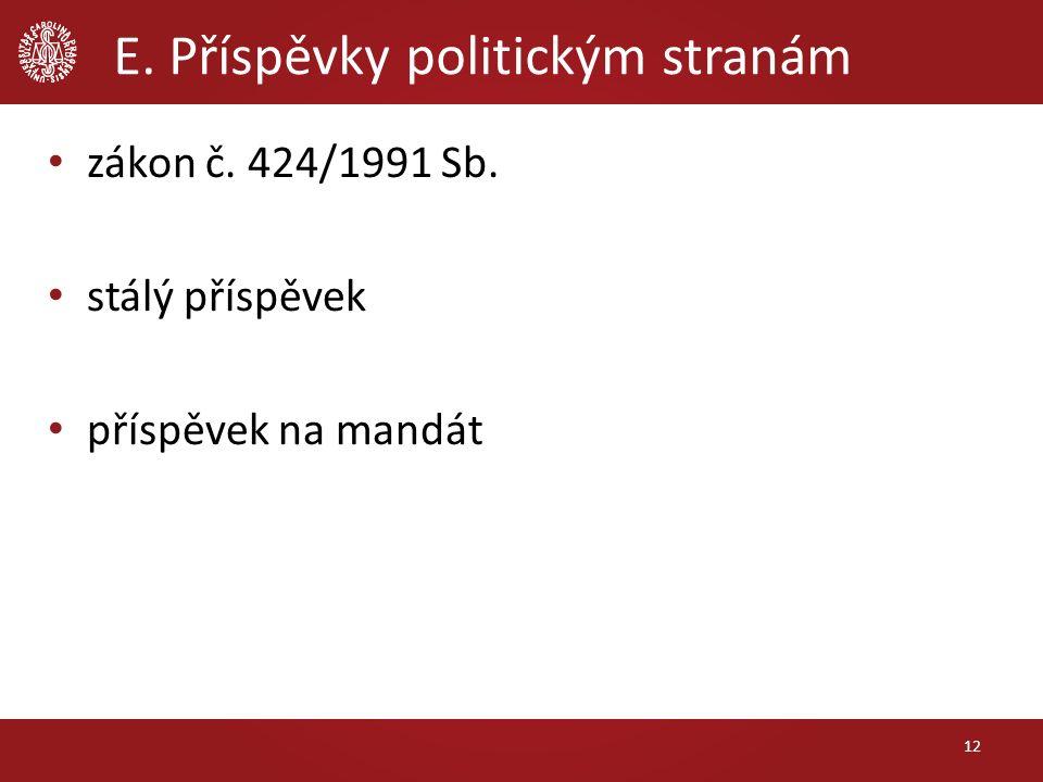 E. Příspěvky politickým stranám zákon č. 424/1991 Sb. stálý příspěvek příspěvek na mandát 12